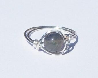 Labradorite Ring, Wire Wrapped Labradorite Ring, Labradorite Wire Wrapped Labradorite Ring, Wire Wrap Ring, Wire Wrapped Ring, Gemstone Ring