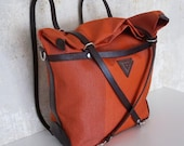 Zampel - Multifunctional red coloured bag with darkbrown vegetable tanned leather