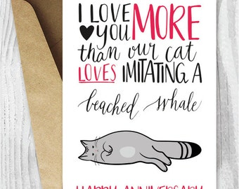 Anniversary Cards Instant Download, Beached Whale Cat Funny Anniversary Card,  Kitty Cards, I  Anniversary Cards Printable