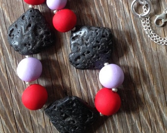 Red Hot - Handmade Red & Mauve Statement Necklace