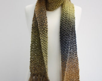 Green's and Blue's Hand Knitted Scarf Made With Mohair and Alpaca Blend