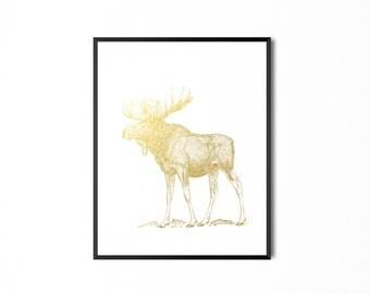 REAL GOLD FOIL Moose Foil Print