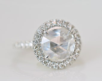 2.00 Ct. Rose Cut Vintage Inspired Diamond Engagement Ring on 14K White Gold