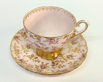 Tuscan Sunshine Bone China Cup and Saucer Set England Pink Gold Floral Flowers Tea Party Vintage