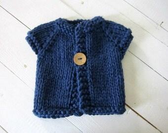 Knit Baby Sweater / Vest / Newborn 0-3 Months / Navy Blue