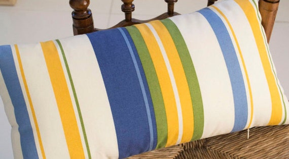 Blue Striped Throw Pillow Cover : Stripe Pillow Cover Blue Striped Pillow Green Yellow