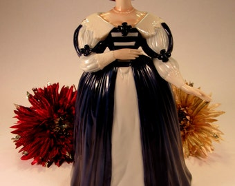 """Beautiful Vintage Franklin Porcelain 1984 Lady Figurine Henrietta The Pavane Museum of Costume  . The Hand Painted Figure Stands 8"""" Tall."""