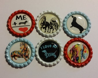 Set of 6 Dachshund Themed Finished Bottle Caps - Magnets - Necklaces