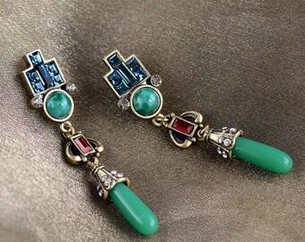 Vintage Art Deco Drop Earrings, Jade Jewelry, Green Earrings, 1920s Jewelry, Art Deco Jewelry, Flapper Earrings, Deco Earrings E9522