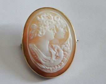 Estate Vintage Hand Carved Athena & Artemis 18K Yellow Gold Genuine Shell Cameo Pin Brooch- 18K Gold Hand Carved Cameo Pin Brooch Pendant