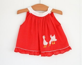 Vintage 12-18 Month Swing Top // Baby Girl Red Summer Top
