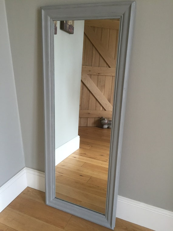 Full length wood framed mirror painted grey for Gray full length mirror
