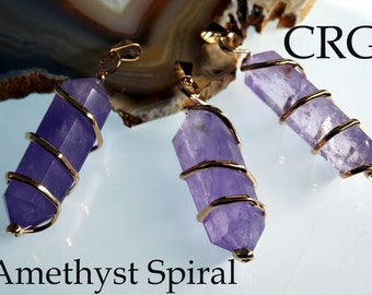 Gold Plated Double Terminated Amethyst Crystal Spiral Pendant,Amethyst Crystal Point, February Birthstone, Natural Purple Stone (PT193)