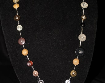 Funky Brown and Black Button Necklace