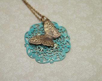 Vintaj Natural Brass Butterfly Necklace