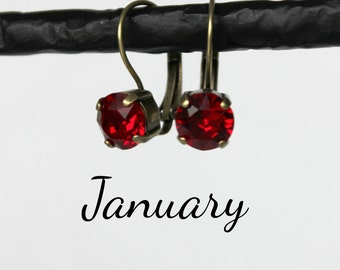 January Birthstone Drop Earrings - 8mm Siam Red Swarovski Crystal Earrings