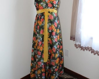 70s Floral Chiffon Maxi Dress, Sleeveless Yellow Velvet Bow Ribbon, Summer Relaxed Formal, Size Medium Long Dress