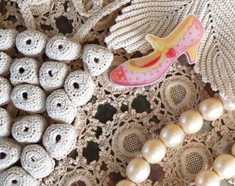 Cinderella's shoe brooch,Rockabilly Shoe Pin,Mary Jane Shoe Badge,Illustration Brooch,Plastic Brooch,Unique Brooch,original gift,For Her