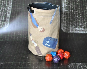 Doctor Who Dice Bag large with Tardis & Three Doctors design Handmade and fully lined