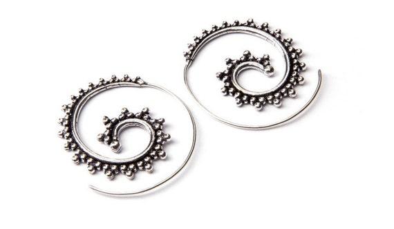 White Brass Medium Size Dotted Design Spiral Earrings Tribal Earrings Mandala Jewellery Free UK Delivery WB21