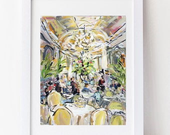 Afternoon Tea Abstract Impressionist Print on Paper