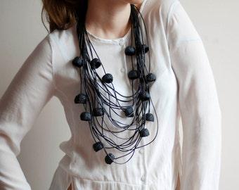 Long Leather Necklace, Black Oversized Necklace, Black Extravagant Long Leather  Necklace