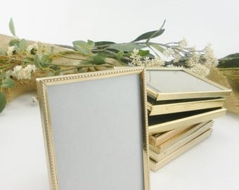 """5 Small Vintage Frames ~ 2.5"""" x 3.5"""" ~ Wedding Table Number Frames ~ Rustic Wedding ~ Vintage Wedding ~ Gold Frames ~ Wedding Seating"""
