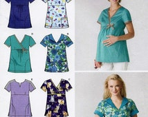 Medical Scrub tops pattern with Maternity scrub top option in Misses' sizes Simplicity Easy-to-sew 3645 UNCUT & FF (2007)  K663
