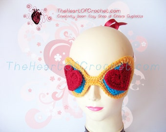 Mask from his-and-hers gift crochet night Valentine