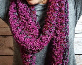 Plum Infinity Scarf, Crochet Cowl Scarf, Circle Scarf, Loop Scarf, Plum Infinity Scarf - Can be worn 2 different ways!
