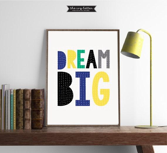 Boys Nursery Wall Art Print Decor Room Dream Kids Printable
