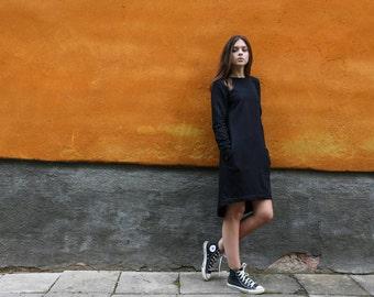 100% cotton dress, Black dress with pockets, Jersey Gray dress, Midi dress, Long sleeve simple dress, Asymmetric dress, Spring casual dress