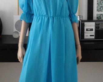 Robe longue vintage bleue /Vtg maxi dress /bohème/festival/hippie chic taille 38 - uk 10 - us 6