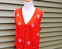 Ugly Christmas Sweater Vest Knit Tiara International Holiday Sweater Vest Funny Snowman Vest, Holiday Sweater Cotton Snowflake Winter Top