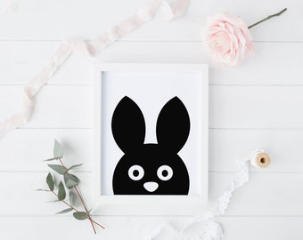 Rabbit - Kids Printable art , Instant download,  Wall Art , Nursery