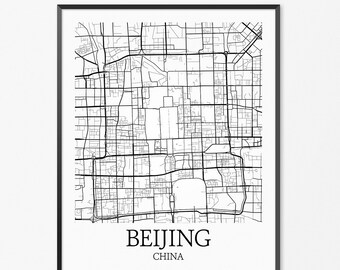 Beijing Map Art Print, Beijing Poster Map of Beijing Decor, Beijing Map Art, Beijing Gift, Beijing China Art Poster