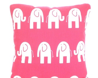 Pink Nursery Pillow Covers, Decorative Throw Pillows, Cushion Covers, Hot Pink White Elephants Childrens Pillow, Gift, One or More All Sizes