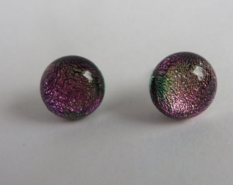 Bright Pink Dichroic Glass Earrings - Posts
