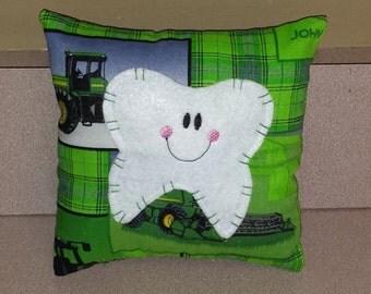 John Deere green tooth fairy pillow