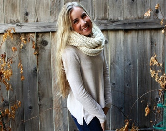 Crochet Chunky Ribbed Infinity Scarf/ Cream