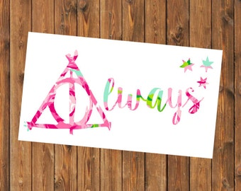 Harry Potter Decal, Lilly Pulitzer Floral, Sticker,Yeti Decal, Car Decal, Tumbler Decal, Snape, Always, Deathly Hollows,Harry Potter Sticker
