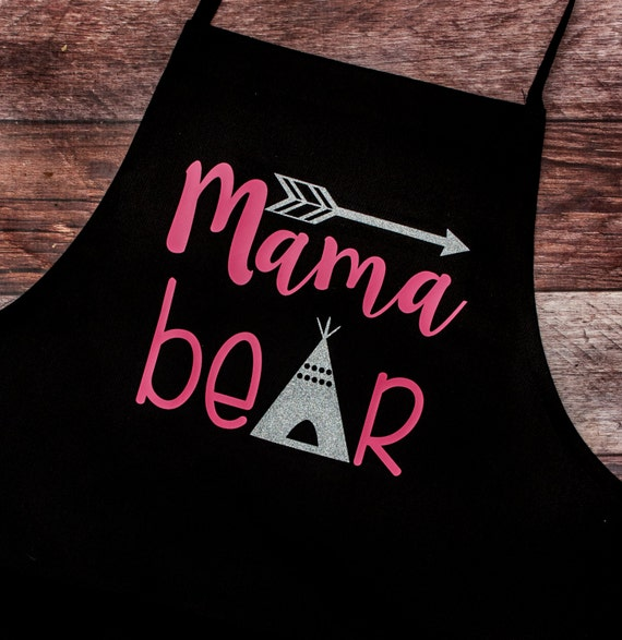 READY TO SHIP-Mama Bear Apron, Glittery, Bear, Tent, Arrow, Gift for Her, Grill, Bar-b-que/bbq,cook, chef, Bakery, Mother's Day