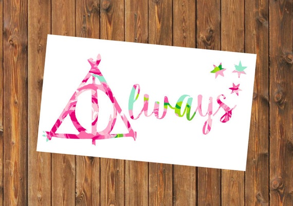 Free Shipping-Harry Potter Decal, Lilly Pulitzer Floral, Sticker,Yeti Decal, Car Decal, Snape, Always, Deathly Hollows,Harry Potter Sticker