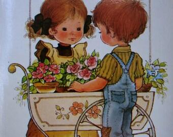 Vintage card.Valentine gift.Enamorados.Children illustration.80s stationery.Romantic.Precious Moments.Nursery decor.Gift.For girls.Love.Cute