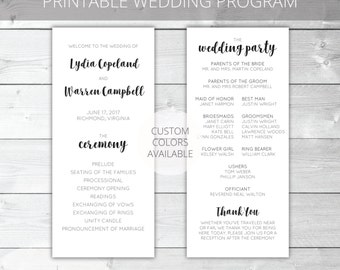 Printable Wedding Program | Modern | Lydia Collection | Custom Colors Available