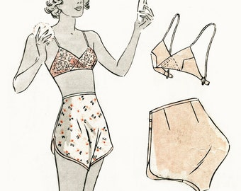 vintage lingerie sewing pattern 1930s 30s soft bra and tap shorts bust 36 bust 36 repro reproduction