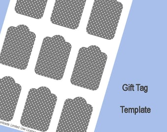 Gift Tag Template, Digital Download