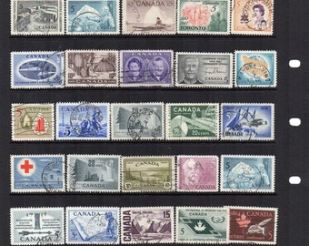 Canadian midcentury used vintage postage stamps 1940s to 1960s. Mixed condition, craft supply, scrapbooking, mixed media. Canada.
