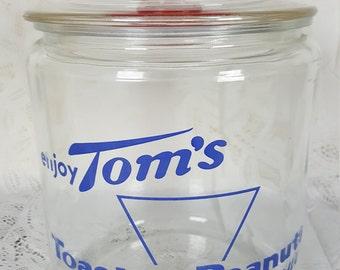 Vintage Toms Toasted Peanuts Jar Blue Label