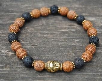 Buddha Bracelet,Mala Beads Bracelet,Lava Stone 8mm Beads,Elastic Bracelet Fit All,Stretch Bracelet,Man,Woman,Yoga,Protection,Meditation